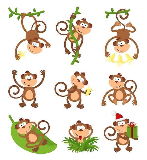 장난 원숭이 캐릭터 세트. 무료 벡터