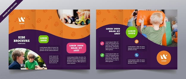 Playful trifold brochure templates Premium Vector