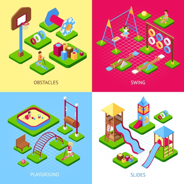 Playground 2x2 images set Free Vector