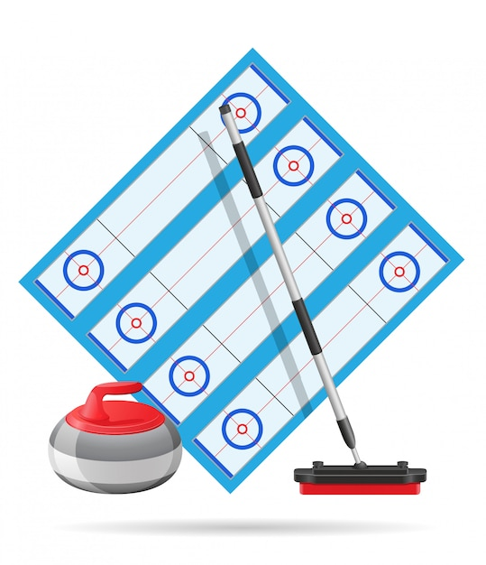 Playground for curling sport game vector illustration Premium Vector