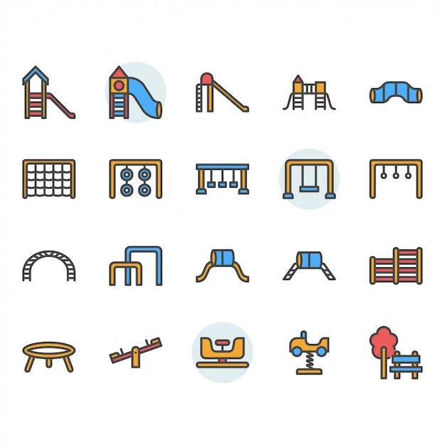 Playground icon and symbol set Premium Vector