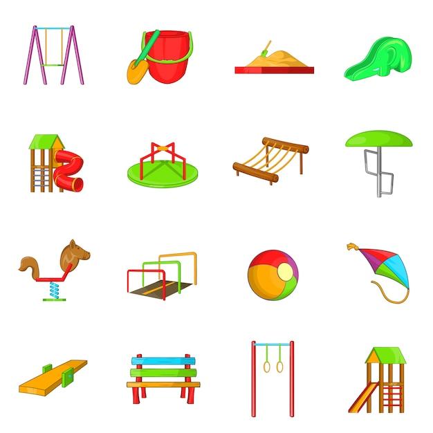 Playground icons set, cartoon style Premium Vector