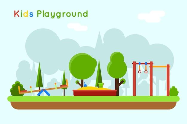 遊び場のイラスト。砂場、砂とおもちゃのある屋外幼稚園で遊ぶ 無料ベクター