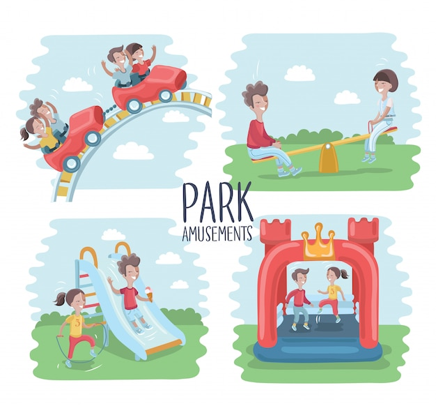 Playground infographic elements   illustration, children play on the outdoors, in the sandbox, boys and girls go for a drive on a swing. mom walking with children Premium Vector