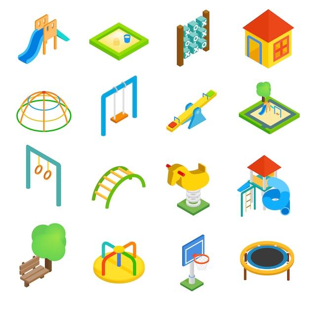 Playground isometric 3d icons set Premium Vector