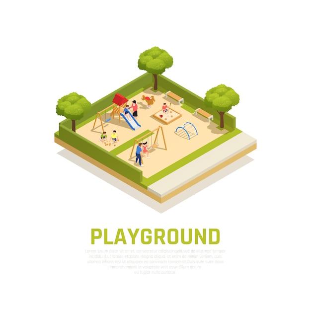 Изометрические концепция игровой площадки с символами семейного времяпрепровождения Бесплатные векторы
