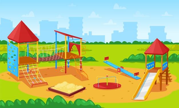 Playground for kids cityscape, city yard park Premium Vector