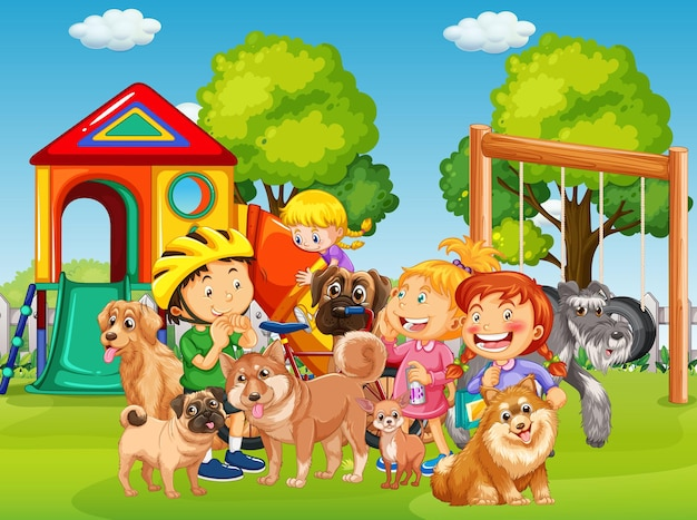 Playground outdoor scene with many children and their pet Free Vector