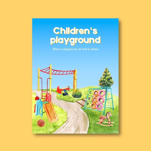 Playground poster design with jungle gym, slide, ball watercolor illustration. Free Vector