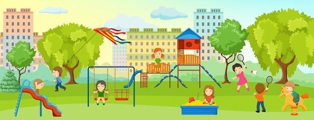 子供と大人がいる子供たちとの遊び場は、遊び場の公園でリラックスします 無料ベクター