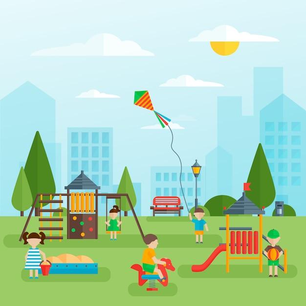 Детская площадка с детским дизайном Бесплатные векторы