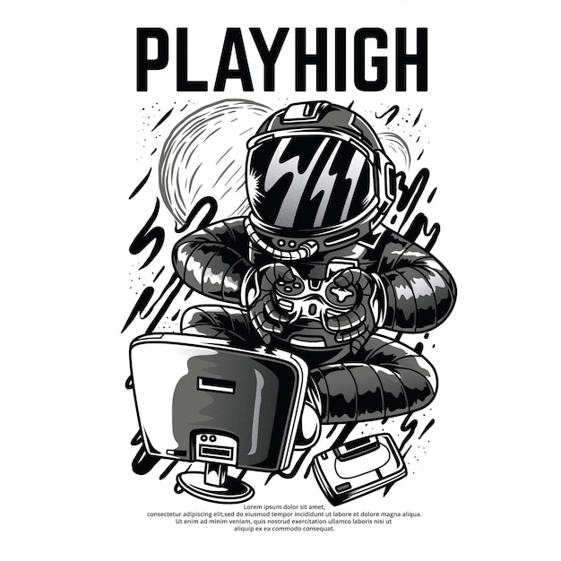 Playhigh black and white illustration Premium Vector