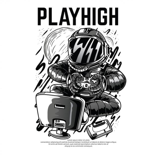 Playhigh черно-белая иллюстрация Premium векторы