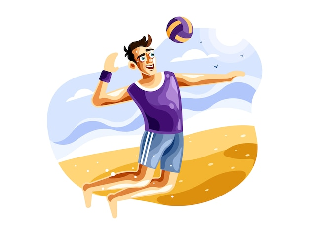 Playing beach volleyball  vector illustration Premium Vector