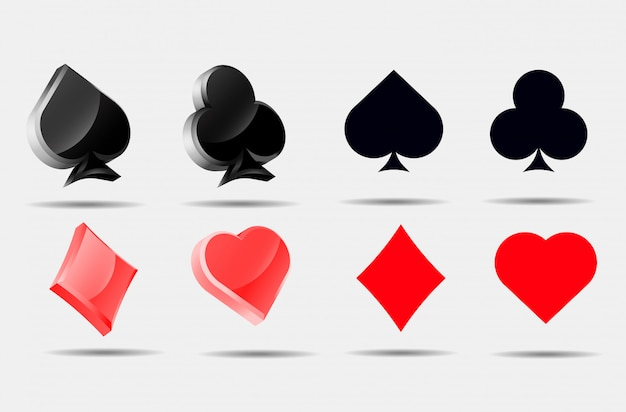 Playing card symbols set pokers collection ace Premium Vector