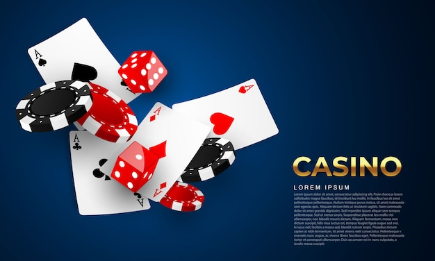 Playing card. winning poker hand casino chips flying realistic tokens for gambling, cash for roulette or poker, Premium Vector