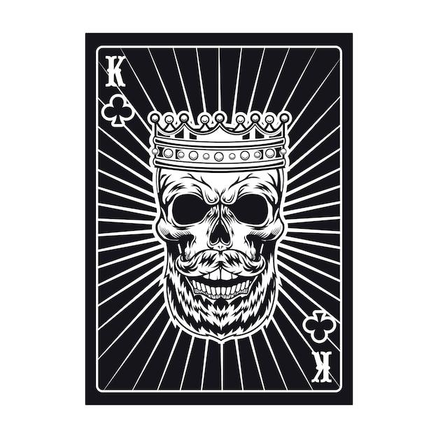 Carta da gioco con teschio aggressivo. re nero. club Vettore gratuito