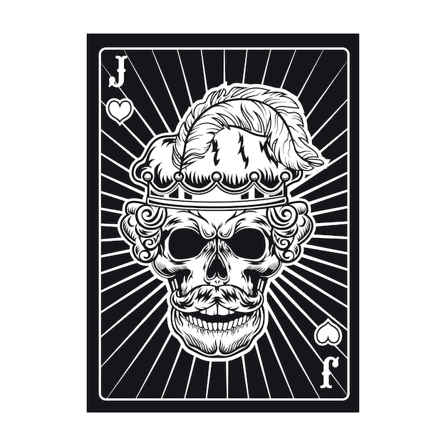 Игральная карта с черепом сердитого джека. сердечки, перо Бесплатные векторы