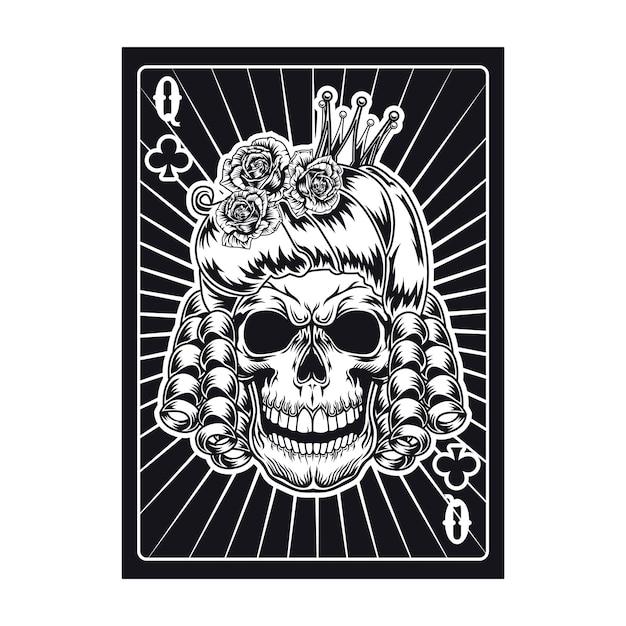 Carta da gioco con teschio regina arrabbiato. club Vettore gratuito