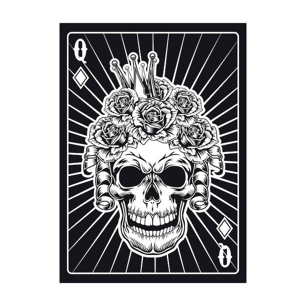 Carta da gioco con teschio di regina nera. diamante Vettore gratuito