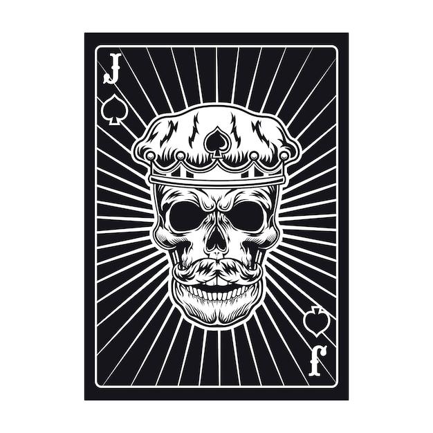 Carta da gioco con teschio di jack in corona. picche, cappello reale Vettore gratuito
