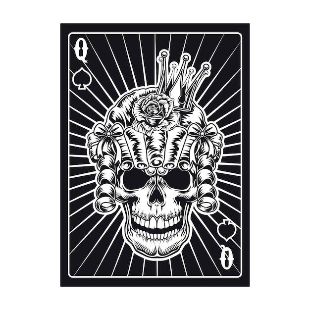 Carta da gioco con teschio della regina in parrucca. picche Vettore gratuito