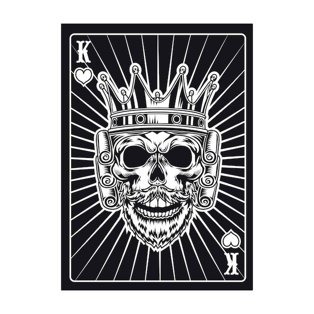 Carta da gioco con teschio reale. re nero Vettore gratuito