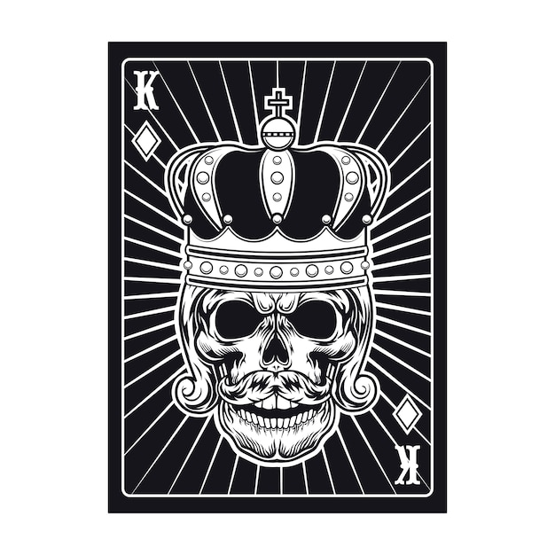 Carta da gioco con teschio. re nero Vettore gratuito