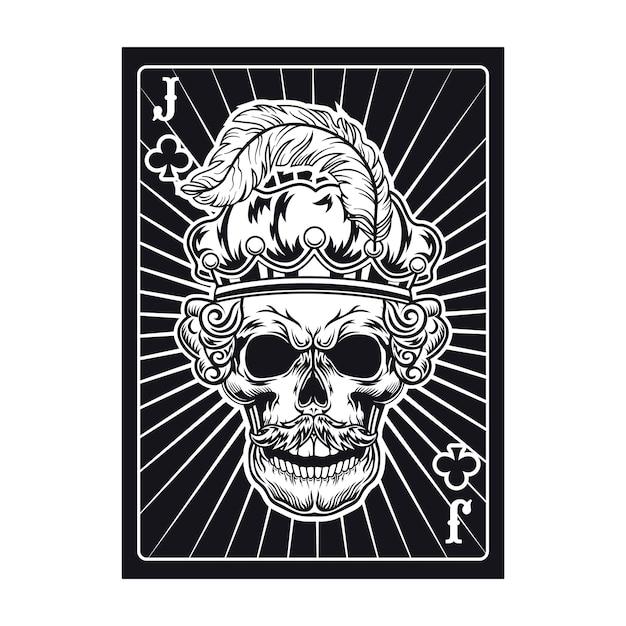깃털 왕관에 잭 두개골과 재생 카드. 클럽, 로열 모자 무료 벡터