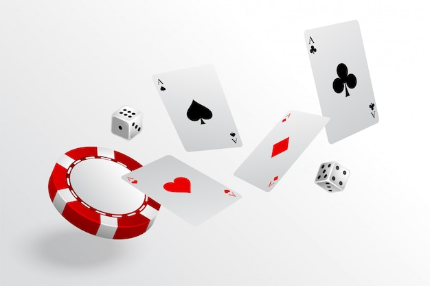 Playing cards chips and dice flying casino background Free Vector