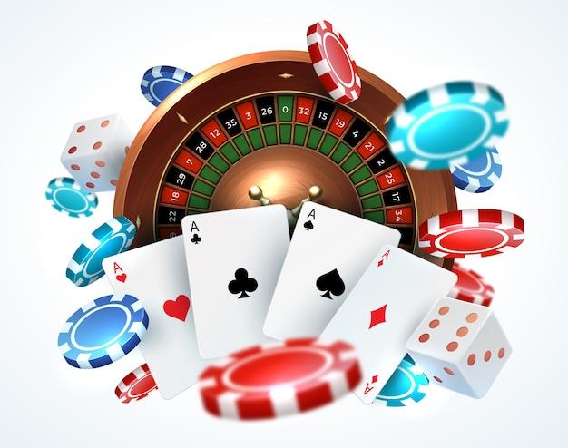 トランプのポーカーチップ。落下ラッキールーレットで現実的なゲームコンセプトを賭けるサイコロオンラインカジノ Premiumベクター