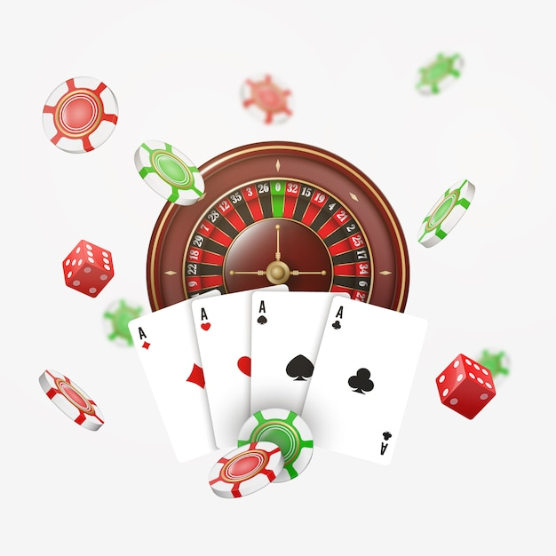 Playing cards and poker chips fly casino with blurred elements. casino roulette  on white .  illustration. Premium Vector