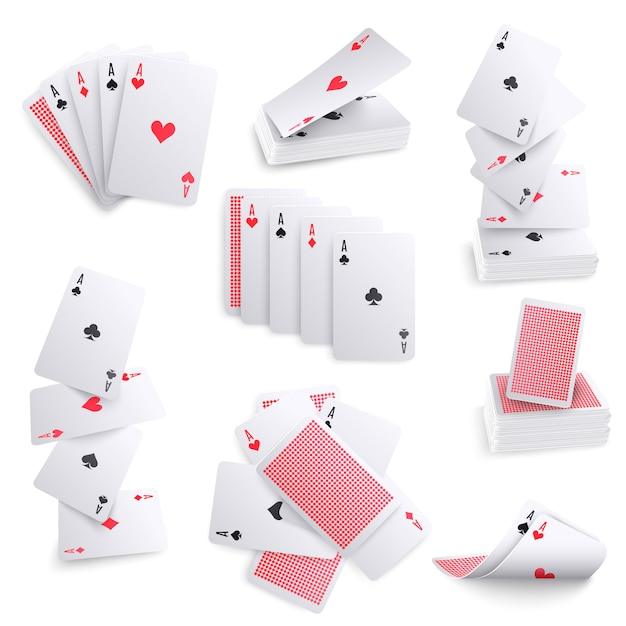 Playing cards realistic sets Free Vector