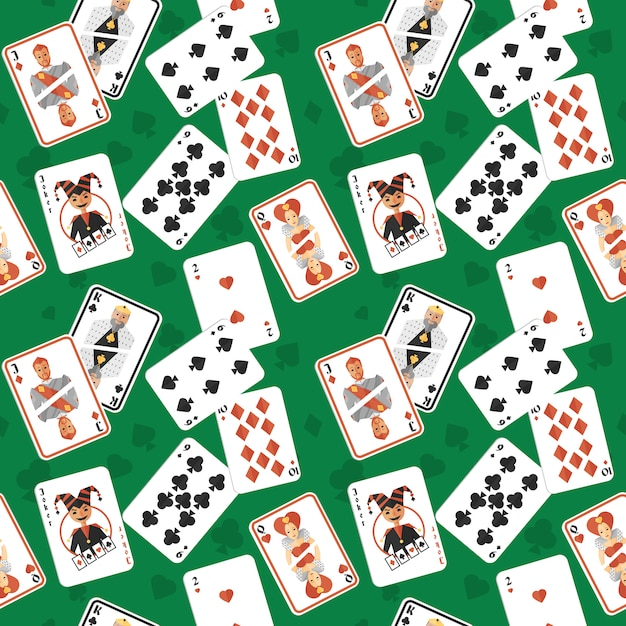 Playing cards seamless pattern Premium Vector
