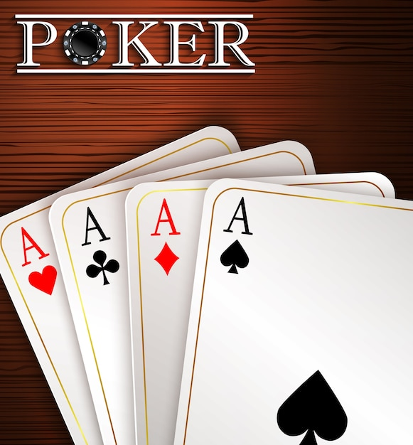 Playing cards on wooden background Premium Vector