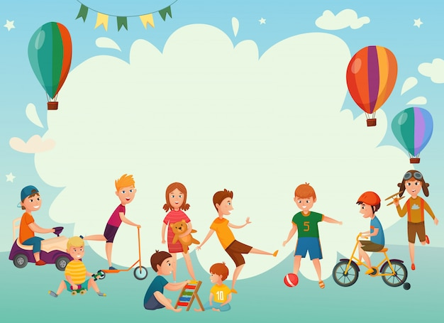 Playing kids background Free Vector