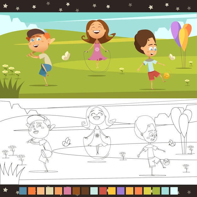 Playing kids coloring cartoon horizontal page with color scheme isolated vector illustration Free Vector