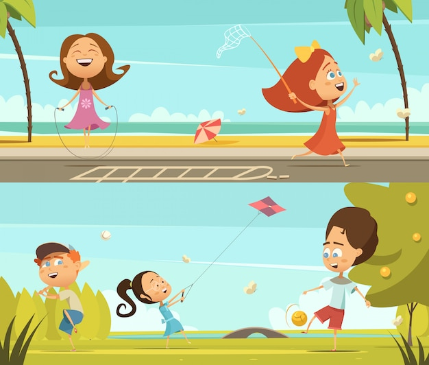 Playing kids horizontal banners set with outdoor activities symbols cartoon isolated vector illustra Free Vector