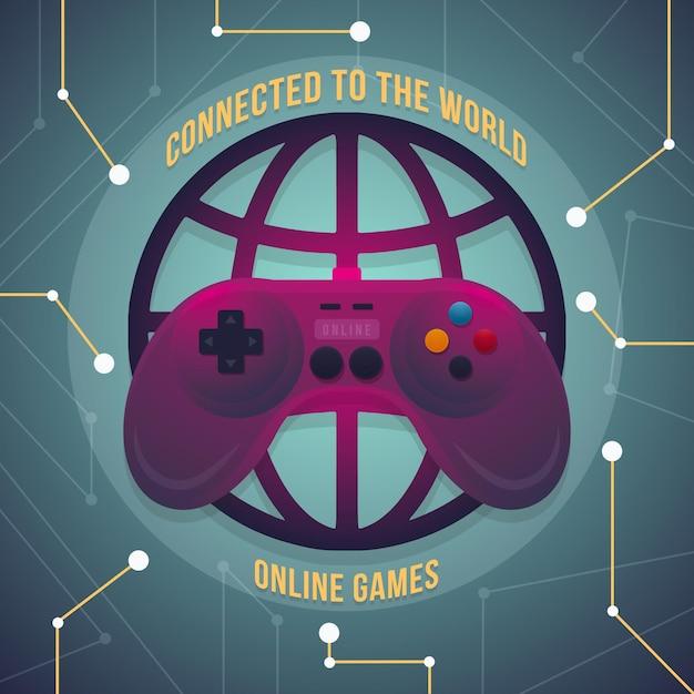 Giocare ai videogiochi online in tutto il mondo Vettore gratuito