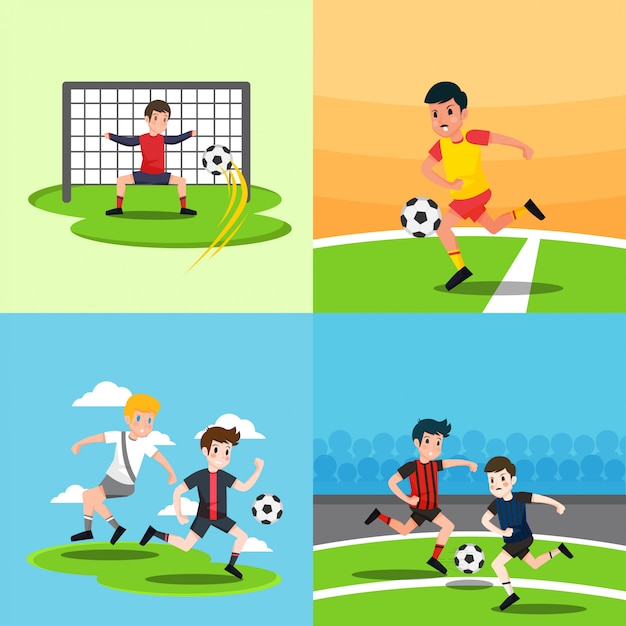 Playing soccer illustration Premium Vector