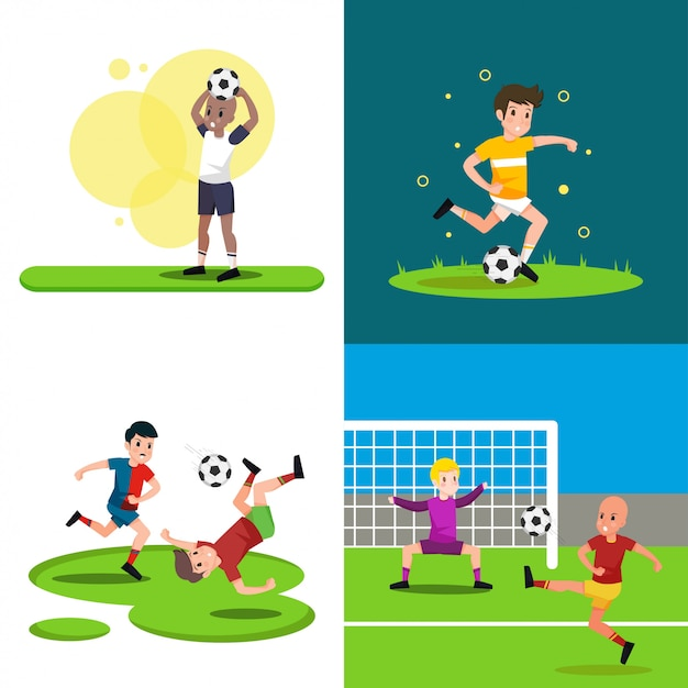 Playing soccer illustration Premium Vector