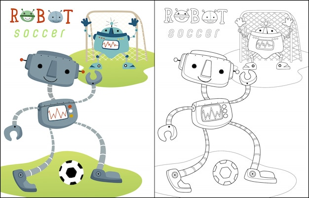Playing soccer with funny robots cartoon Premium Vector