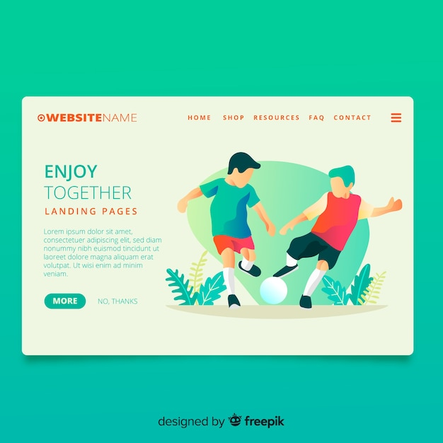 Playing sports  together landing page Free Vector