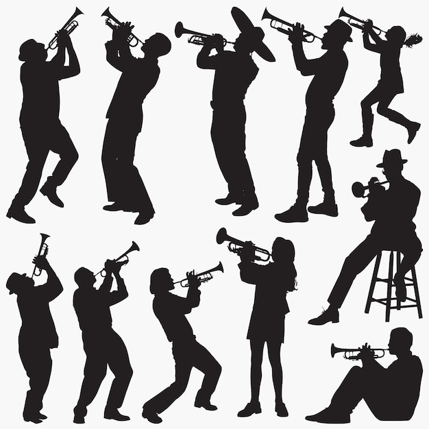 Playing-trumpet silhouettes Premium Vector