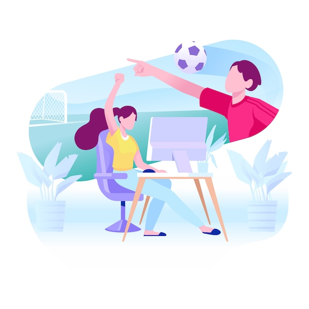 Playing video game illustration Premium Vector