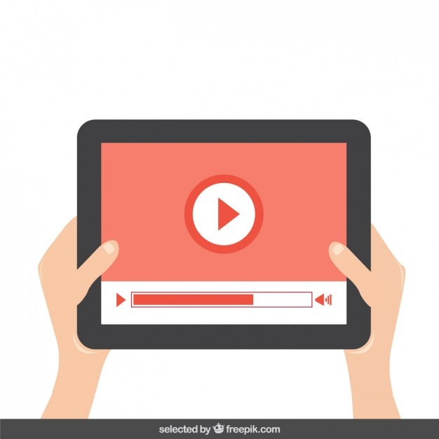 Playing video on the tablet Free Vector