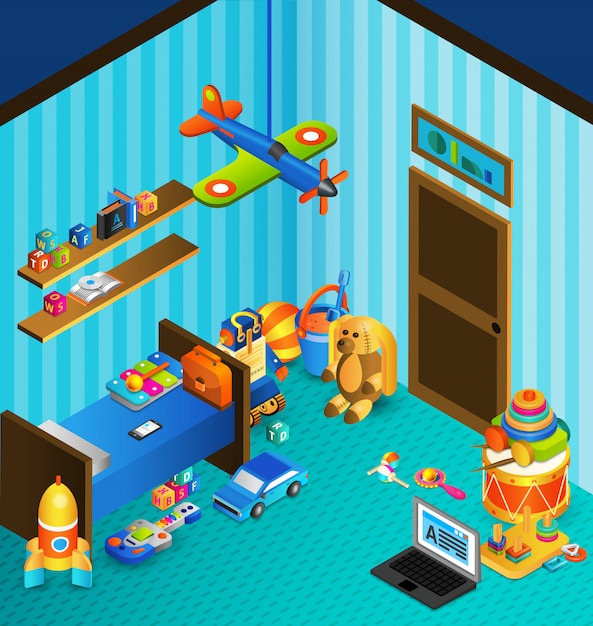 Playroom concept isometric Free Vector