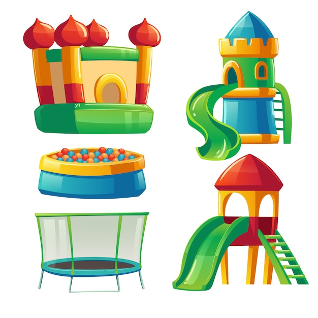 Playroom in kindergarten with slide and trampoline Free Vector