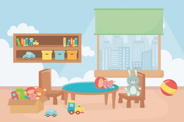 Playroom with shelf boxes ball table chair window city Premium Vector