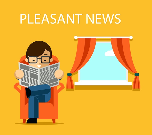Pleasant news concept. businessman reading newspaper with financial news near window. information. vector illustration Free Vector